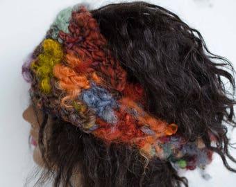 Bohemian Headband, Knit Dread Hair Wrap, Wool Art Yarn Headband, Boho Head Band, Knit Hippy Headband, Chunky Rustic Headband