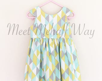 READY-TO-SHIP -- Flawed/Discounted Geometric Dress -- Size 2 -- Girls Scoop Back Dress