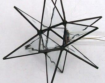 clear wavy glass tree topper medium leaded glass moravian star tree top - Glass Christmas Tree Topper