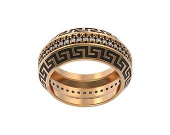 Hector Ring Versace Gold 14K Silver Fashion Jewelry Round