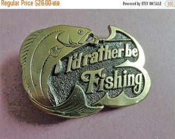Antique Brass Belt Buckle, I'd rather be Fishing, Limited Edition # 523, Great American Buckle Co 1978, Chicago