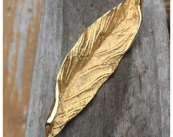 Vintage BSK Large Gold Tone Leaf, 4 inch Gold Tone leaf, BSK Brooch