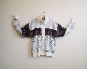 Warm Zipper Cardigan Sweater Large - Native American Design - Turtleneck