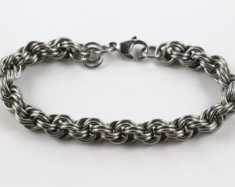 Stainless Steel Spiral Chainmaille Bracelet | Hand Crafted Chainmaille Jewelry | Handmade Bracelet