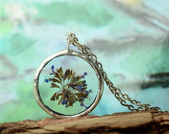 Real flowers necklace, terrarium jewelry, glass jewelry, dried flowers pendant, botanical, real plant jewelry Gift for gardener