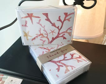 Beautiful Coral Thank You Notecards, Set of 10