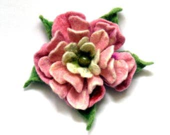 Felted pin brooch rose flower 100% wool