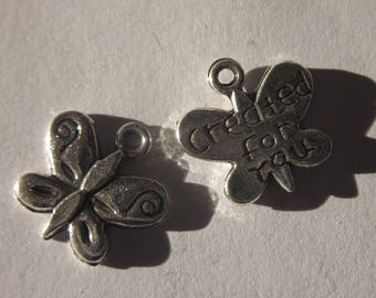 3 charms 13mm-(40) metal Butterfly