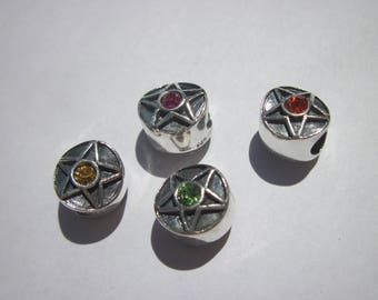 4 round 925 sterling silver beads and rhinestones glass (65)