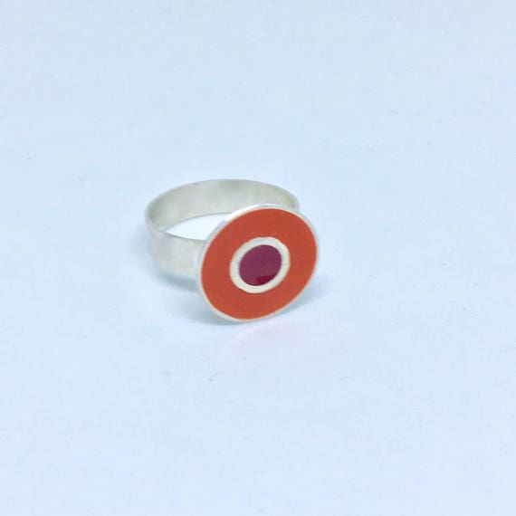 Sterling silver, orange and red resin ring