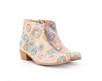 Women's leather boots , light colorful Ankle boots , handmade booties with chunky heel , free shipping , ADIKILAV,