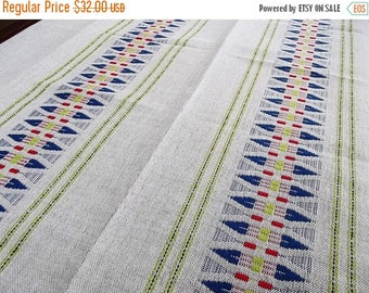 Summer sale Woven Tablecloth. Linen tablecloth.Handmade tablecloth. Swedish tablecloth. Table decor.Swedish Vintage 1970s.