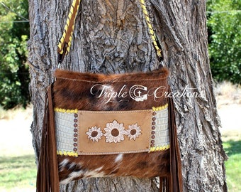 Cowhide and Leather Shoulder Bag - Hand Tooled Leather