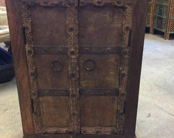 Antique Iron Nailed Doors Side Chest, Nightstands, Hand carved Storage End Tables, Indian Interior Design