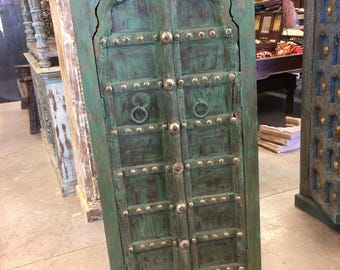 Antique Mehrab Arch Door Teak Wood Armoire Green Patina Cabinet Hand Carved Storage Chest Eclectic Hotel Design