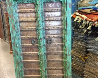 Antique Green Armoire Brass Old Doors Vintage Patina Storage Cabinet Eclectic Earth grounding Rustic Indian Furniture