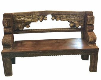 Antique Bench Old Farm House CHIC eclectic unique Bench teak rustic decor eclectic boho conscious design  FREE SHIP Cyber Week Sale