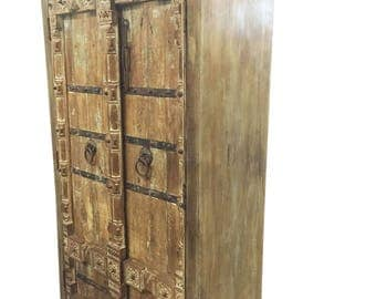 Antique Wardrobe Old Doors Indian Furniture Iron Storage Cabinet Eclecticmix Decor FREE SHIP Early Black Friday