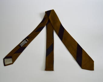 Vintage 1960s Gold and Black Striped Silk Skinny Tie by Christian Dior