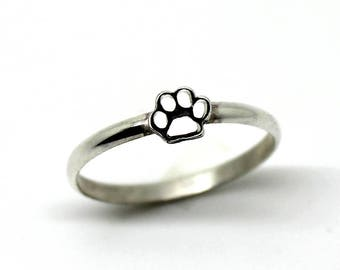 Delicate silver paw ring , Cats & dogs jewelry