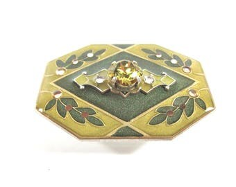 Large Vintage Catherine Popesco Art Deco Light And Dark Green Enamel And Swarovski Crystal Signed Brooch-Made In France