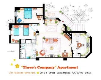 Floorplan of the apartment from THREE'S COMPANY