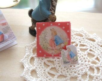 dollhouse beatrix potter peter rabbit handkerchief  12th scale miniature