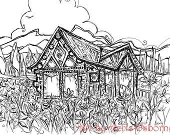 Artisan Vintage Cottage Printable Adult Coloring,Unique,Wood,Ink Pen,digital download,Illustration,Ink Pen Drawing,Art by Aeris Osborne