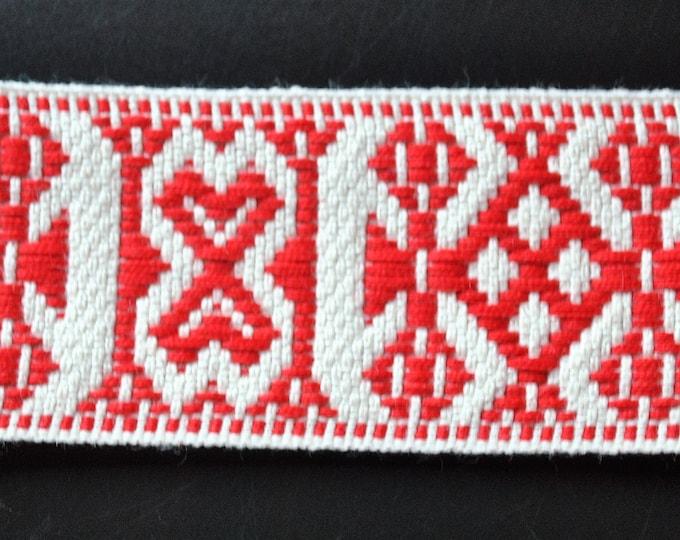 "Swedish Folk Art Woven Ribbon Wide Red & White 1.57"" 4 cm Per Yard"