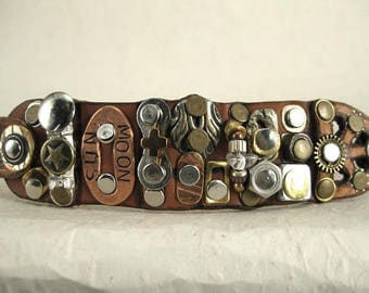 480 Steampunk Burning Man Assemblage Bracelet Recycled Jewelry Industrial Machine Age