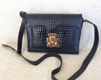 Genuine vintage Bally black leather shoulder bag cross body with croc pattern in  mint condition