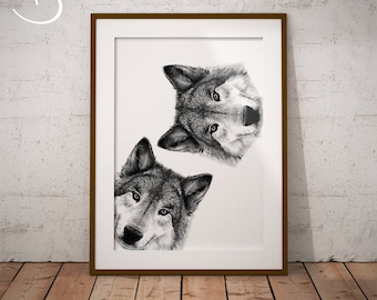WOLVES PRINT, download, Printable, Wolves Wall decor, Curious Wolves Print, Printable Wolves Poster, Wolf Print, Curious Animals, Wolves Art