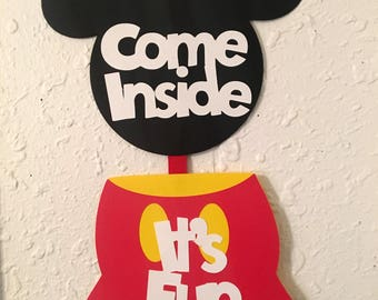 Mickey Mouse door hanger, Disney party sign, Come Inside sign, Mickey birthday party