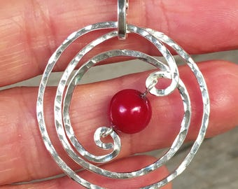 Sterling Silver & Red Coral Pendant, hammered finish, contemporary, squiggly, 925, hand-forged, wire wrapped