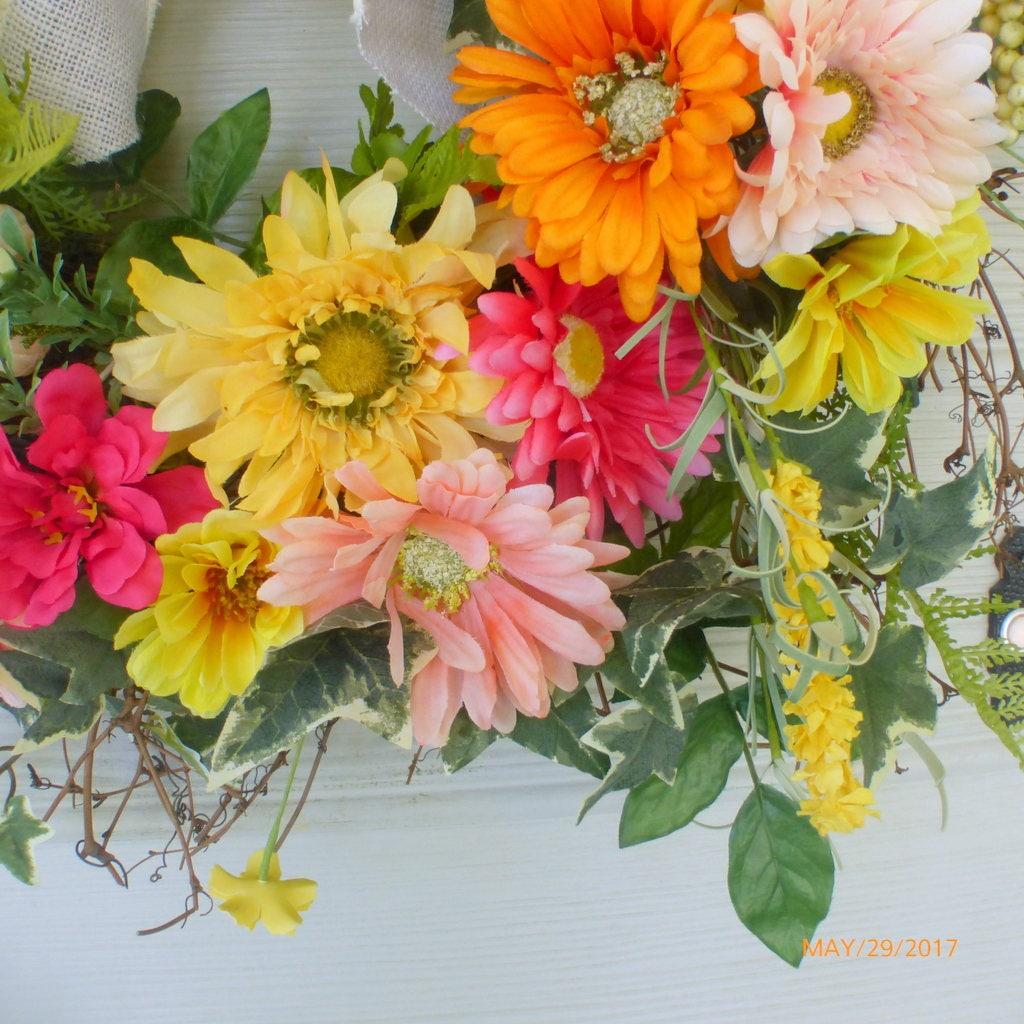 summer wreaths spring wreath bright gerbera daisy wreath front door wreath floral