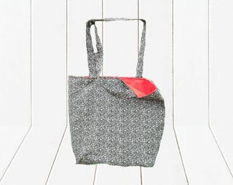 Eco Friendly Reusable Shopping Bag Reversible Black and Tan Tote with Red Lining