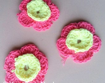 Pink And Yellow Crochet Flower Appliqué x 3 - 200317A115E
