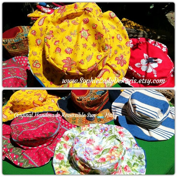 Reversible Sun Hat Yellow Provence Cotton Fabric Handmade Striped Blue White Canvas Lined #sophieladydeparis