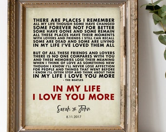 IN MY LIFE Lyrics Wall Print by The Beatles Personalized Music Art Print, Anniversary Gift for husband wife boyfriend, colors fonts  8 x 10