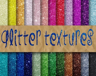 Glitter Digital Paper - Glitter Textures - Glitter Backgrounds -  24 Colors - 12in x 12in - Commercial Use -  INSTANT DOWNLOAD