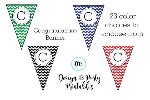 23 color choices chevron congratulations graduation banner with name printable digital high. Black Bedroom Furniture Sets. Home Design Ideas