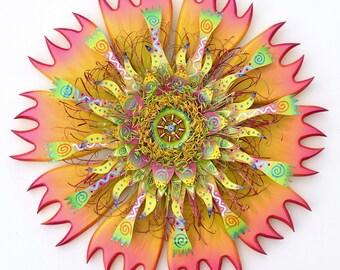 Mixed Media Wall Art, Bohemian Wall Decor, Floral Wall Art, Mixed Media Wreath, Metal Wall Decor, Bohemian Wall Art, Wood Wall Art
