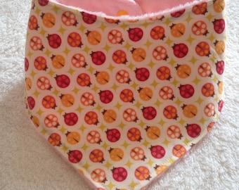 Baby, Toddler Bandana Dribble Bin in Ladybird Bug Print in Pink, Red and Orange