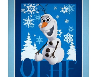 Disney FROZEN panel OLAF the snowman and snowflakes in Blue 100% cotton Quilt Fabric