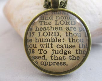 Bible Verse Necklace -The Lord is King Scripture Necklace Bible Verse Psalm 10:16-18 From an Antique Bible - Once of a kind Necklace