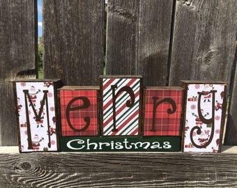Merry Christmas wood blocks--Christmas blocks