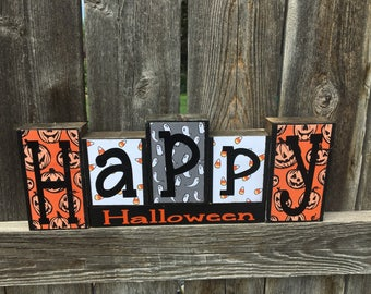 Happy Halloween wood blocks, Pumpkins