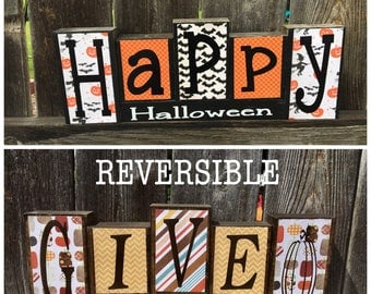 SALE--Reversible Halloween and Thanksgiving wood blocks--Happy Halloween reverses with Give Thanks