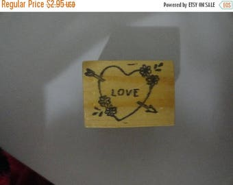 50% OFF LOVE stamp 1.5 by 1 inch Vintage Wooden rubber stamp