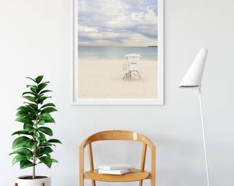 Coastal decor, Beach Print, Pastel Beach Photography, Lifeguard tower, Bondi beach Photography, Ocean Photography, Sunset beach photo